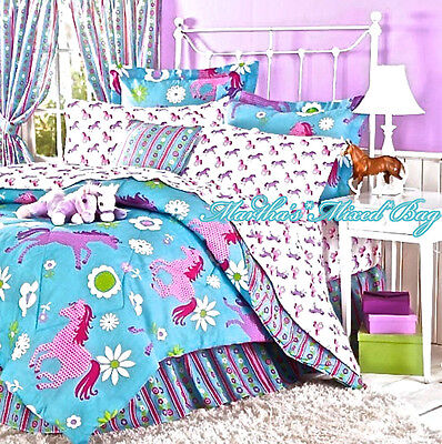 Girls Western Pink PONY HORSE BEDDING 6-8p Turquoise Blue COMFORTER SET+SHEETS