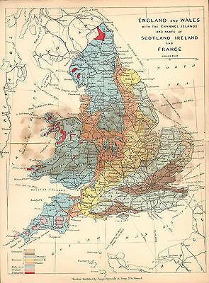 1889 HAND COLOURED GEOLOGICAL MAP ~ ENGLAND & WALES CHANNEL ISLANDS JURASSIC etc