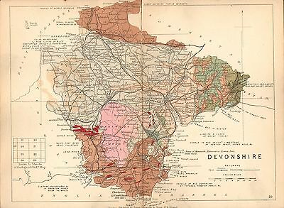 1889 Hand Coloured Geological Map ~ Devonshire Oreston Caves Corals Iron Ore