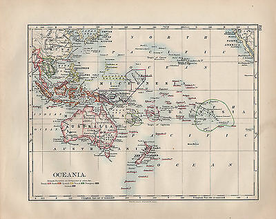 1902 Victorian Map Oceania ~ Polynesia Micronesia Philippine Islands Possessions