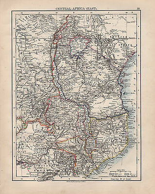 1902 Victorian Map ~ Central Africa East ~ European Possessions