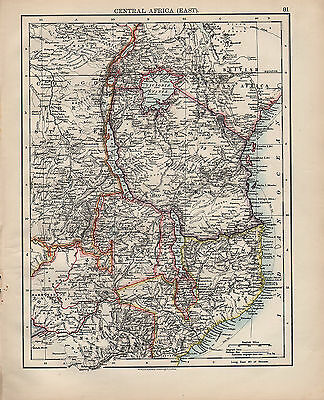 1900 Victorian Map ~ North East Africa ~ German British Congo Free State