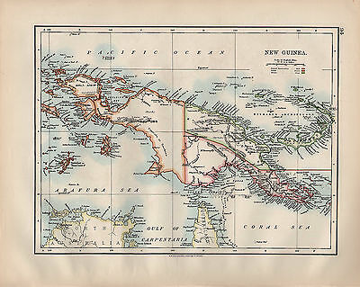 1900 Victorian Map ~ New Guinea British Dutch German Possessions Bismarck