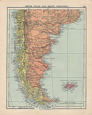 1925 MAP ~ SOUTH CHILE & ARGENTINA with FALKLAND ISLANDS