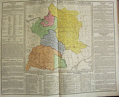 1813 Large Hand Coloured Map ~ Geographical & Statistical Poland & Hungary Siege