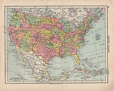 1925 MAP ~ UNITED STATES ~ TEXAS ARIZONA MONTANA OREGON UTAH NEW YORK MAINE etc