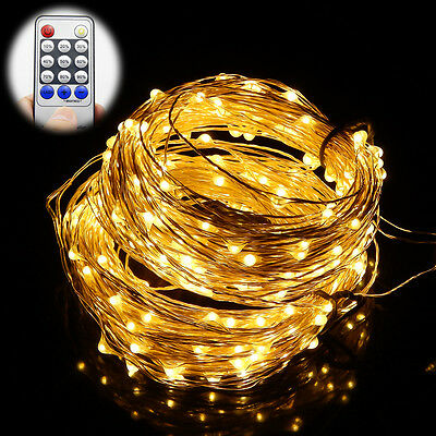 Corded 65/98/164Ft  20M 30M 50M LED Christmas Silver String Lights with Remote