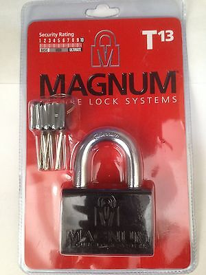 MAGNUM HIGH SECURITY PADLOCK T13 3 KEYS HEAVY DUTY HARDENED STEEL Mul T Lock