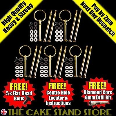 5 x Metal Gold Round 3/Three Tier Cake Stand Centre Handle Sets with Fittings