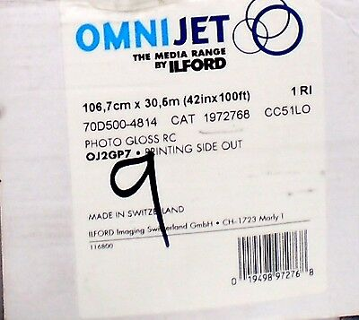 """Ilford OMNIJET Instant Dry Glossy RC Roll Photo Paper, 42""""x100' #1972768"""