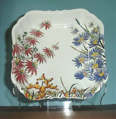 """Gien Tamarin Square Dish 8"""" Letter Tray Floral w/Scalloped Edge New In Box"""