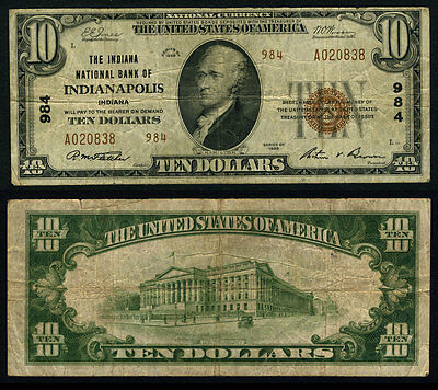 Indianapolis IN $10 1929 T-2 National Bank Note Ch #984 Indiana NB Very Fine