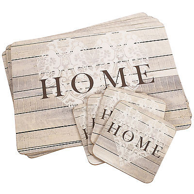 Set of 4 Placemats & Coasters Table Place Settings Mats Shabby Chic Home Heart