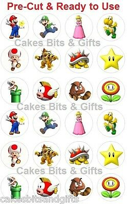 24 x SUPER MARIO (2) Edible Wafer Cupcake Cake Toppers, Pre Cut & Ready to Use.