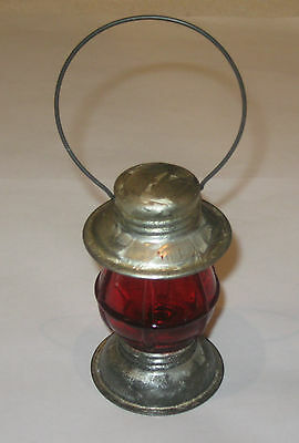"Antique/Vintage Tin Toy Lantern Candy Containers - Red - ""Avor"" - 3/4 OZ - 4"" Ht"