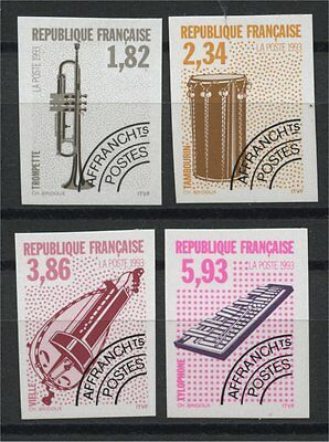 France, Precancel Stamps 1994, Music Instruments Imperforated, Mnh