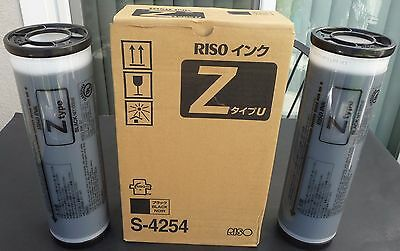 2 Tubes New Riso Genuine OEM Brand Black Ink Riso S4254 S-4254 Z Type U