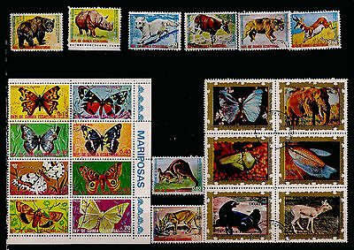 GUINEE EQUATORIAL blocs et timbres:papillons,poissons,animaux sauvages F80