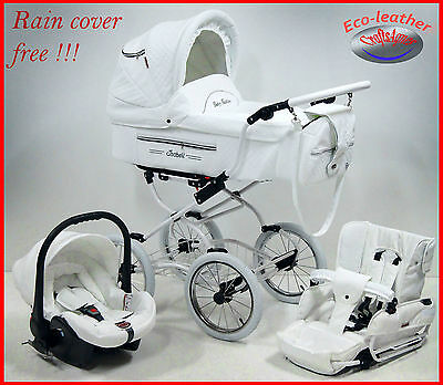 Baby Pram retro pushchair stroller buggy eco - leather travel system , car seat