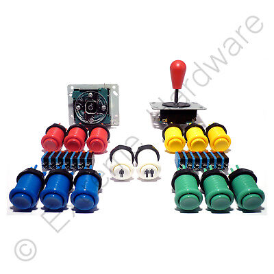 2 Player Arcade Control Kit - 2 Bat Top Joysticks, 14 Buttons - MAME, JAMMA