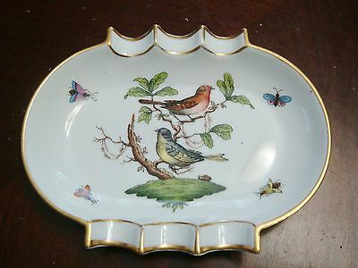 Vintage Herend Hungary Porcelain Floral and Birds  Ashtray Numbered[1]