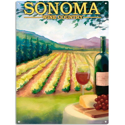 Sonoma California Wine Metal Sign US Travel Home Bar Decor 12 x 16