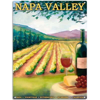 Napa Valley California Wine Metal Sign US Travel Home Bar Decor 12 x 16