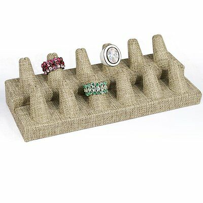 12 Fingers Display Modern Burlap Jewelry Ring Display Showcase Display Stand
