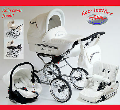Fanari Classic Leather Baby Retro Classic Pram Travel System , Car Seat