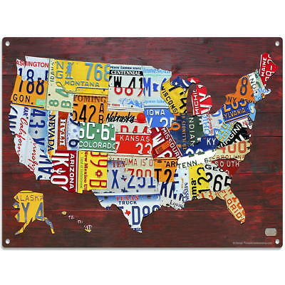 USA Map Detailed License Plate Style Metal Sign Automotive Travel Decor 16 x 12