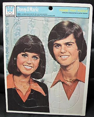 Vintage Donny and Marie Head Shot Frame Tray Puzzle, Whitman, 1977