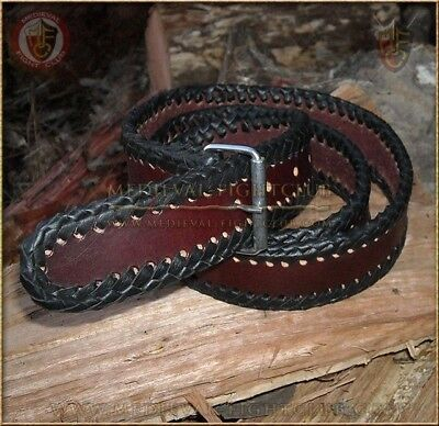 Leather belt braided edge sturdy genuine