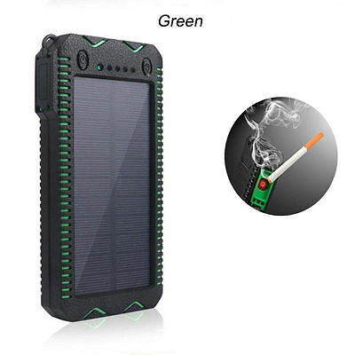 Blue 80000mAh Dual USB Portable Solar Battery Charger Power Bank For Cell Phone