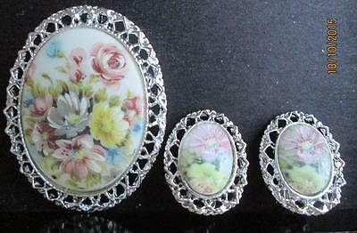 Vintage Blue Flowers Pin And Matching Clip On Earrings