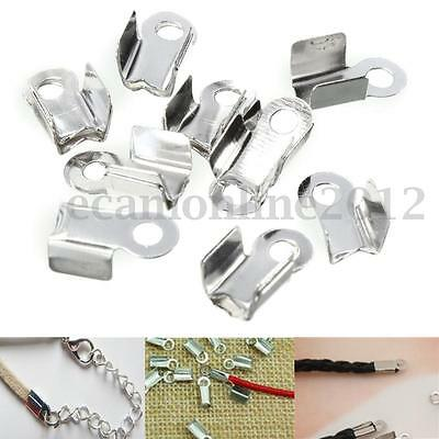 100x 9x5mm Folding Crimps Connector Ends Silver Plated Leather Cords Jewellery