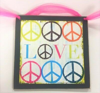 Love And Peace Wooden Teen Girls Bedroom Wall Art Sign Holiday Gifts