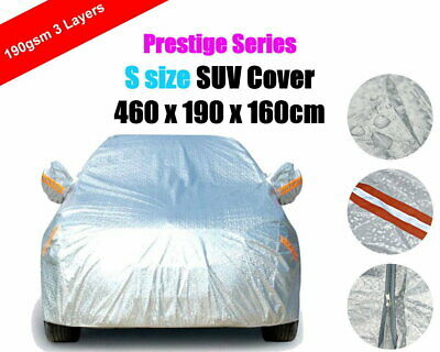 S 3 Layers Car Cover with Zipper SUV Aluminum Rain Dust UV Protection