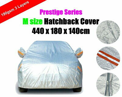 M 3 Layers Car Cover with Zipper Hatchback Aluminum Rain Dust UV Protection