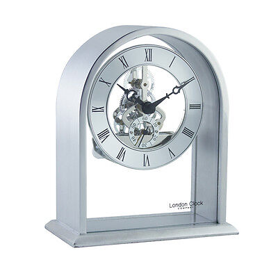 London Clock Company Silver Arch Top Skeleton Mechanism Mantel Table Clock