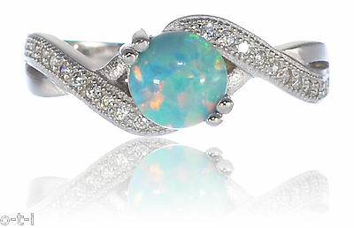 Infinity Celtic Round Created Turquoise Blue Fire Opal CZ Ring Sterling Silver
