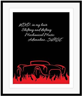 Rush Band Music Poster RED BARCHETTA Song Lyric Print Artwork Classic Rock