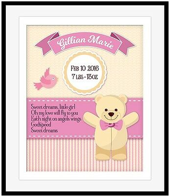 Personalized Baby Print Boy Girl Birth Announcement Dixie Chicks Print GODSPEED