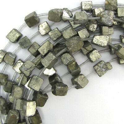 """10-13mm natural gold pyrite nugget beads 16"""" strand"""