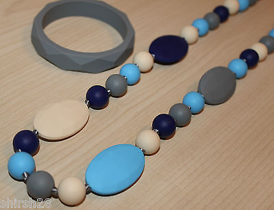Silicone Baby Teether Teething Necklace Jewelry Blue Gray Beads & Bracelet Set