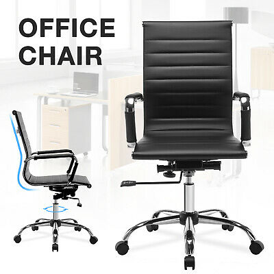 Black PU leather OFFICE CHAIR lumbar support New Ergonomic Task Computer desk