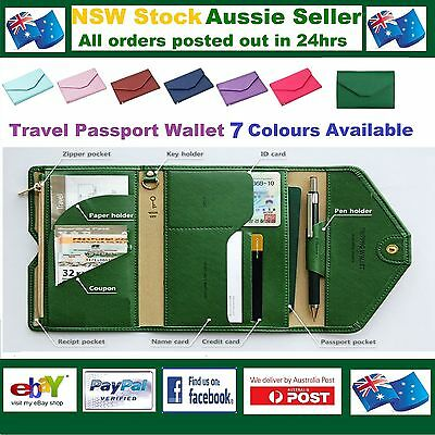 Travel Wallet Passport Cover Credit ID Key Pen Holder FREE RFID Anti Skim Pouch