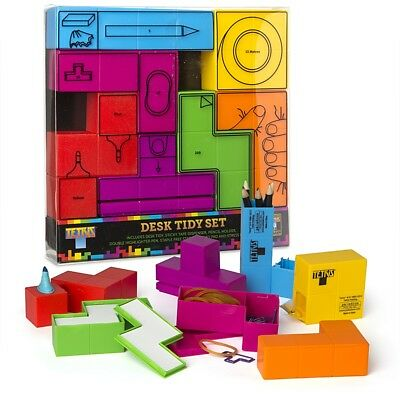Tetris Desk Tidy Set Tetromino Stress Block,Stapler,Highlighter,Tape,Pencils