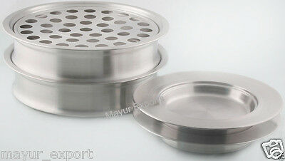 Stainless Steel 2 Communion Tray Set and 2 Bread Plate