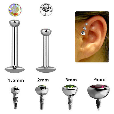 Piercing Brillantino Mezza Sfera Filetto Interno Acciaio Chirurgico Triplo Trago