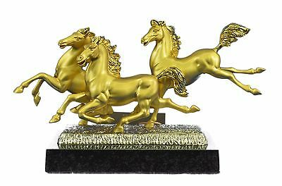 Stunning Bronze Sculpture - Horse Horses 24K Gold- Solid Marble Base Art Deco